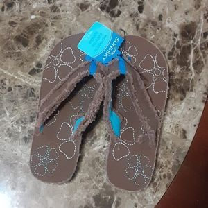 Sun&Sky brown&turquoise distressed sandals 5-6